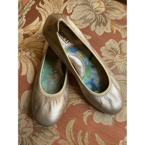Born Metallic Gold Leather Ballet Flats Shoes 6.5